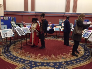 Lord Mayor of Leeds viewing 2020 art comp entries